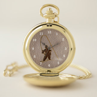 Reloj De Bolsillo Pescador de la Cuero-Mirada suave