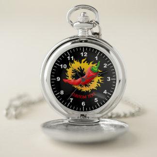 Reloj De Bolsillo Pimiento picante con la llama