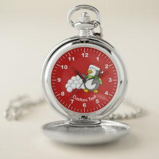 Reloj De Bolsillo Pingüino del navidad con agitar de las bolas de la