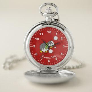 Reloj De Bolsillo Pingüino del navidad que consigue una bola de la