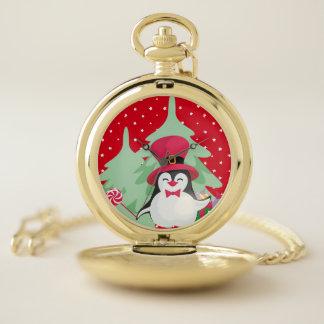 Reloj De Bolsillo Pingüino festivo con el trineo - rojo