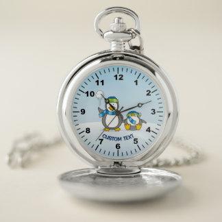 Reloj De Bolsillo Pingüinos que se agravan