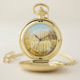 Reloj De Bolsillo Plantilla blanca de la foto de los números romanos