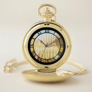 Reloj De Bolsillo Plantilla oscura de la foto de los números romanos