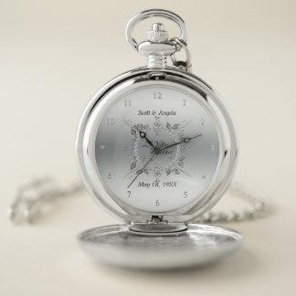Reloj De Bolsillo Platee el 25to recuerdo del aniversario de boda 25