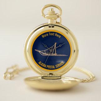 Reloj De Bolsillo Portador postal del trineo del perro de Alaska