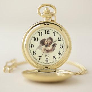 Reloj De Bolsillo Primeros ángeles románticos del beso con iniciales