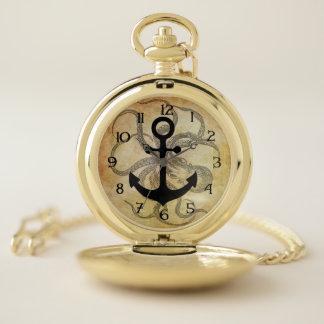 Reloj De Bolsillo Pulpo y ancla de Steampunk