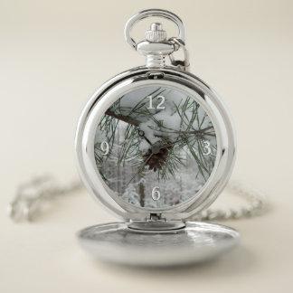 Reloj De Bolsillo Rama del pino Nevado