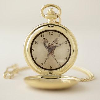 Reloj De Bolsillo Raquetas en el papel viejo