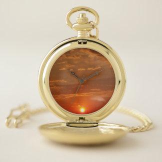 Reloj De Bolsillo Regalo anaranjado de los hombres del cielo de la