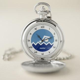 Reloj De Bolsillo Regalos de la natación, blanco del nadador, icono