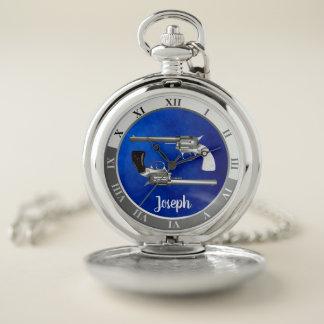 Reloj De Bolsillo Revólveres de plata gemelos en azul