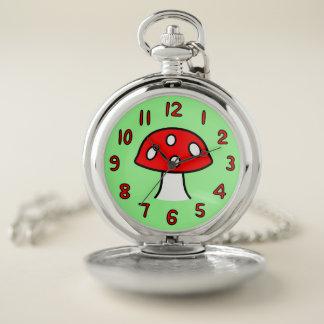 Reloj de bolsillo rojo de la seta