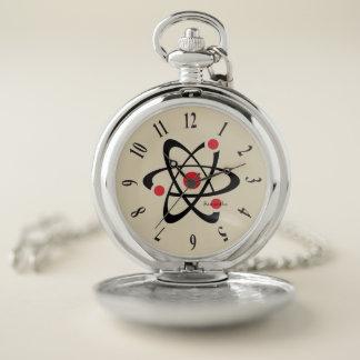 Reloj de bolsillo rojo del diseño del átomo