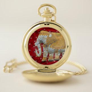 Reloj De Bolsillo Rojo embellecido y oro del elefante indio