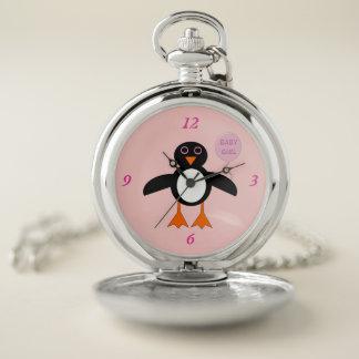 Reloj de bolsillo rosado lindo del pingüino de la
