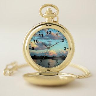Reloj De Bolsillo Salida del sol en el río Misisipi