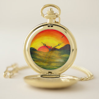 Reloj De Bolsillo salida del sol mágica sobre paisaje impresionante