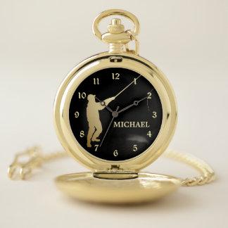 Reloj De Bolsillo Silueta del pescador de la mosca del oro