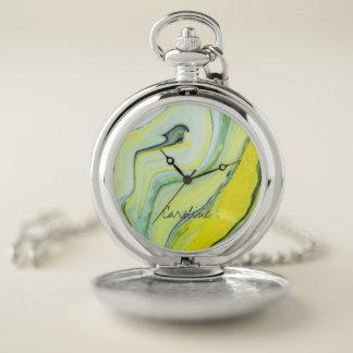 Reloj De Bolsillo Sombras del modelo de mármol verde. Añada el