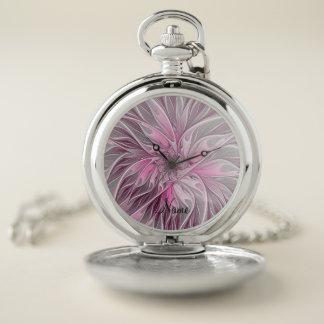 Reloj De Bolsillo Sueño rosado de la flor del fractal, fantasía