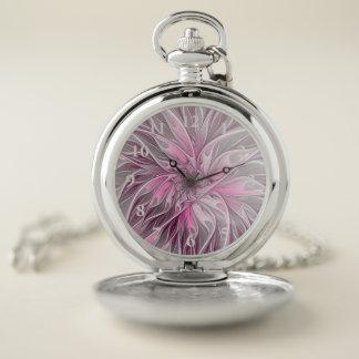 Reloj De Bolsillo Sueño rosado de la flor del fractal, modelo floral