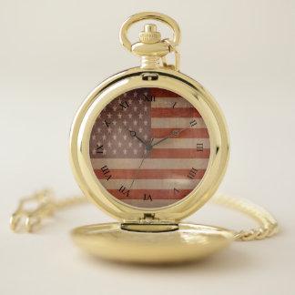 Reloj De Bolsillo Temático americano de la bandera de los E.E.U.U.