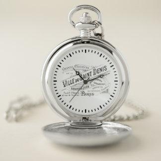 Reloj De Bolsillo Tipografía grabada del francés del vintage