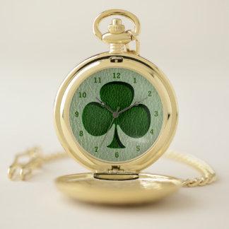 Reloj De Bolsillo Trébol del irlandés de la Cuero-Mirada