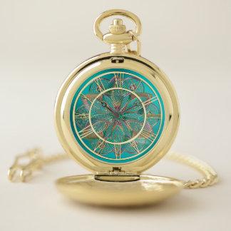 Reloj de bolsillo verde azulado de la mandala de