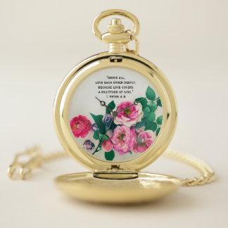 Reloj De Bolsillo Verso color de rosa salvaje rosado de la biblia