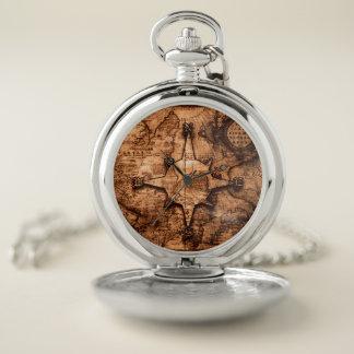Reloj De Bolsillo Viajero de mundo antiguo - rosa del mapa y de