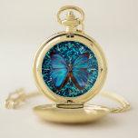 Reloj De Bolsillo Victorian de la mariposa de Morpho