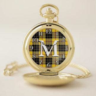 Reloj De Bolsillo Viejo monograma escocés 1 del tartán de MacLeod