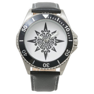 Reloj de cuero negro inoxidable con símbolo tribal
