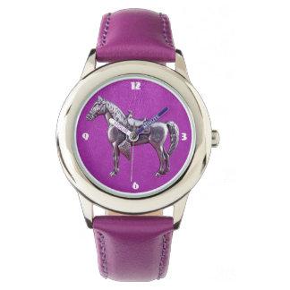 Reloj de cuero púrpura del CABALLO OCCIDENTAL DE