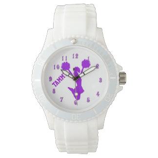 Reloj de encargo de la animadora púrpura