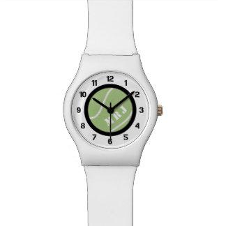Reloj de encargo de la pelota de tenis de la banda