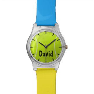 Reloj de encargo de la pelota de tenis de los