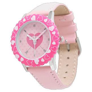 Reloj de encargo rosado del amor U de los