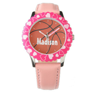 Reloj de encargo rosado lindo del baloncesto de