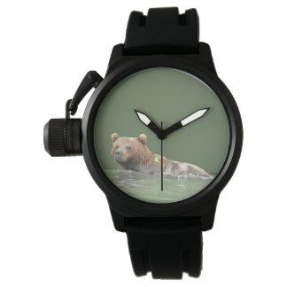 Reloj de goma de la correa del negro del protector