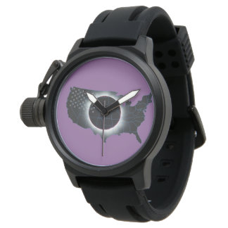 Reloj de goma de la correa del negro total del