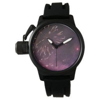 Reloj de goma negro de la correa de los hombres