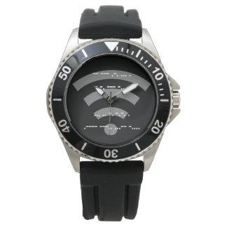 Reloj de goma negro del diseño s/s del código