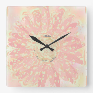 Reloj de la acuarela del rosa de la margarita del