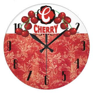 reloj de la cocina de la fruta de las cerezas del