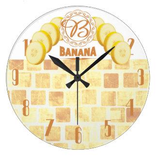 Reloj de la cocina de la fruta de los plátanos del