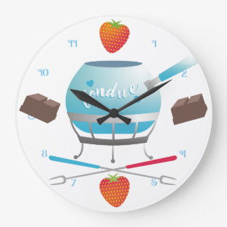 Reloj de la cocina de las fresas del chocolate del